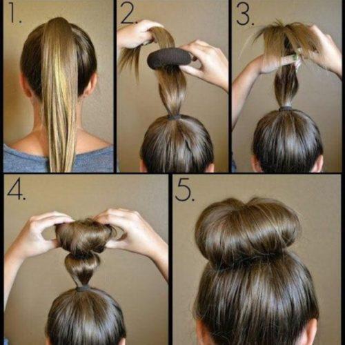Прическа пучок на длинных волосах с бубликом